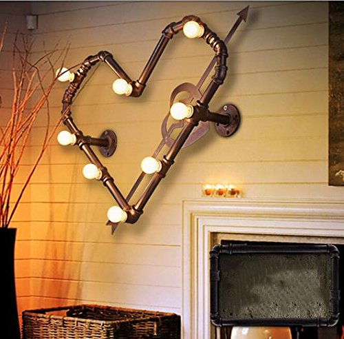 YanCui@ Wall Mount Wall lights for the Bedroom/Study Room/Foyer Decorate Wall light Creative love pipe wall lamp (4030cm)