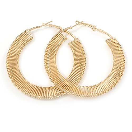 Large Gold Plated Coil Spring Round Flat Hoop Earrings - 60mm D XolhBF2s4Z