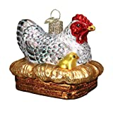 glass chicken on nest - Old World Christmas Glass Blown Ornament with S-Hook and Gift Box, Birds Collection (Hen On Nest)
