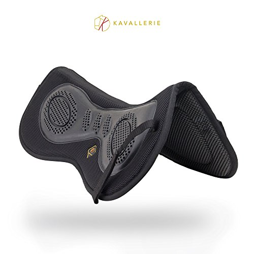 Kavallerie 3D Air-Mesh Half Pad/Saddle Pad, Impact Protection & Therapeutic Gel Padding for Maximum Support, Best for Dressage, Jumping, Riding, Training, Eventing, Showing- BLACK