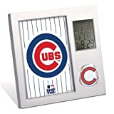 """CHICAGO CUBS (7"""" x 7"""") DESK CLOCK w/ LCD Display of Time, Temperature, Calendar, Alarm & Timer"""