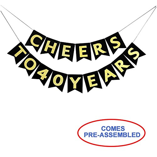 Cheers to 40 Years Banner - Happy 40th Birthday Party Decorations - 40th Wedding Anniversary Decorations - NO Assembly Required