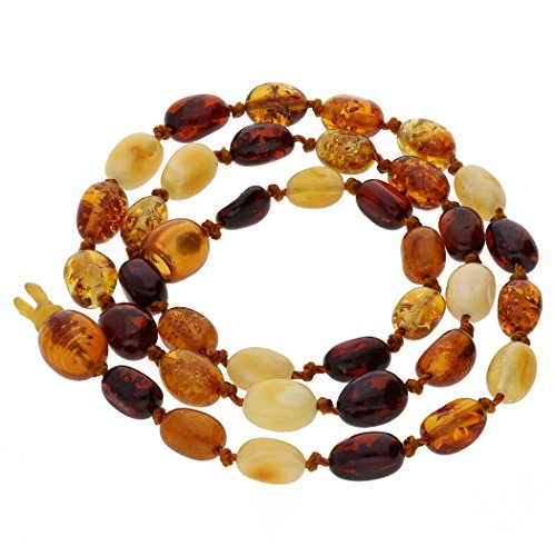Amber Mix - BALTIC AMBER GEMSTONE SMALL NECKLACE MIX OVAL BEADS. KAB