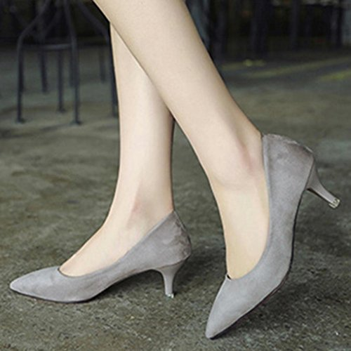 Hatop Pumps Shoes, Women Nude Shallow Mouth Fashion Elegant Ladies Office Work High Heels Shoes Gray