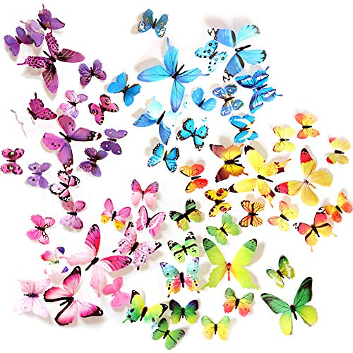 (Ewong Butterfly Wall Decals - 60PCS 3D Butterflies Home Decor-Stickers, Removable Mural Decoration for Girls Living Room Kids Bedroom Bathroom Baby Nursery, Waterproof DIY Crafts Art (5 Color))