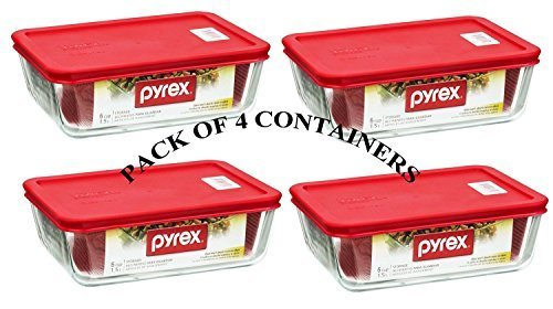 Rectangular Storage Dish - PYREX Containers Simply Store 6-cup Rectangular Glass Food Storage Red Plastic Covers ... (Pack of 4 Containers)