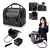 Vanity Box Hotrose Professional Beauty Make Up Case Nail Cosmetic Box Vanity Case (Black)