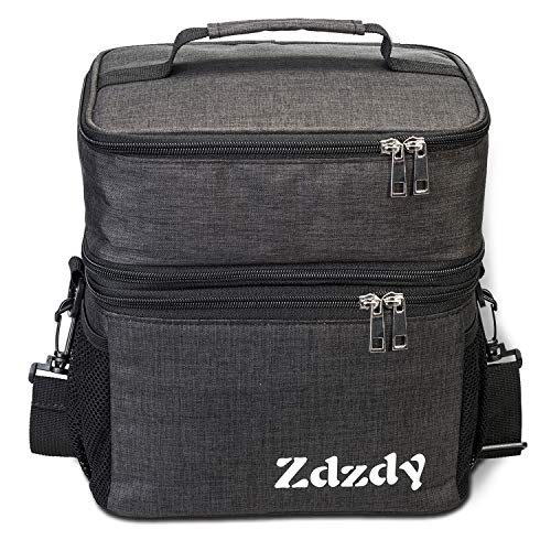 Zdzdy Adult Insulated Lunch Box for Men Women Reusable Lunch Bag Large Capacity Lunch Tote Waterproof Cooler Bag with Adjust Shoulder Strap For Office Work Picnic(Grey) ()