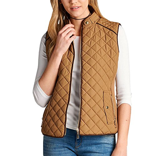 Beige Womens Quilted Vest (Fashionazzle Women's Lightweight Suede Contrast Quilted Zip Up Vest Jacket (Small, Camel))