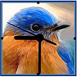 Bluebird Clock, Bird Lover Gift, From Original Art, 2 Sizes Available, Desk Clock, Wall Clock, Includes Stand, Free Shipping