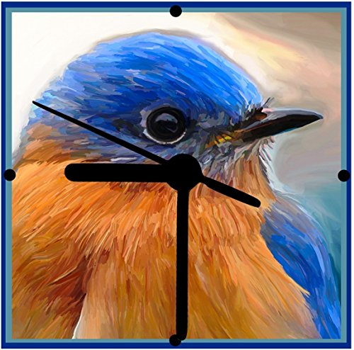 Bluebird Clock (Bluebird Clock, Bird Lover Gift, From Original Art, 2 Sizes Available, Desk Clock, Wall Clock, Includes Stand, Free Shipping)