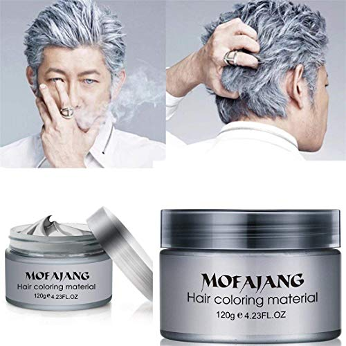MOFAJANG Unisex Hair Color Dye Wax Styling Cream Mud, Natural Hairstyle Pomade, Temporary Hair Dye Wax for Party, Cosplay & Halloween, 4.23 oz (Silver Gray) (Hair Silver)