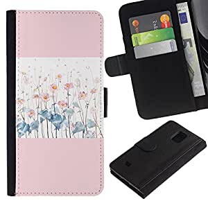 ARTCO Cases - Samsung Galaxy S5 Mini, SM-G800, NOT S5 REGULAR! - Pink Lotus Flower Watercolor - Cuero PU Delgado caso Billetera cubierta Shell Armor Funda Case Cover Wallet Credit Card