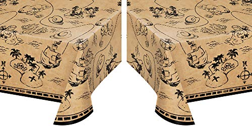 - Pirate Treasure Map Plastic Party Table Covers - Pack of 2