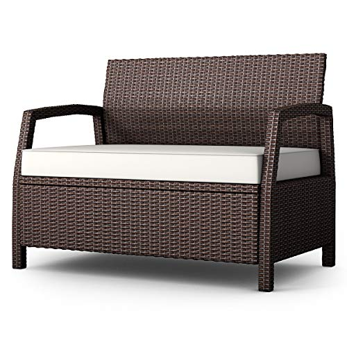 Casart Outdoor Rattan Bench Couch Chair, Loveseat with Cushions for Patio, Garden, Poolside, Lawn and Porch
