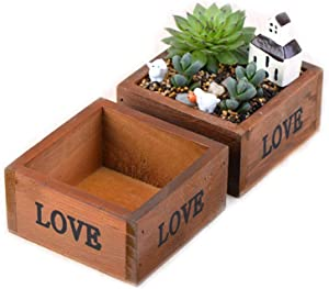 Wooden Plant Seeds Box, Indoor Outdoor Windowsill Kitchen Garden Herb/Flower Succulent Planter Plant Container Box Trough Pack of 2 (Square)