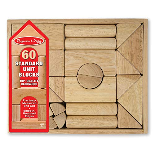 "5133VxzIejL - Melissa & Doug Standard Unit Solid-Wood Building Blocks with Wooden Storage Tray, Developmental Toy, 60 pieces, 5.25"" H x 12.5"" W x 15"" L"