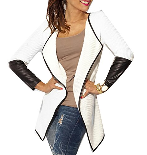 Patchwork Faux Leather (UUYUK Women's Faux Leather Patchwork Thin Cardigan Jacket Outwear White US M)