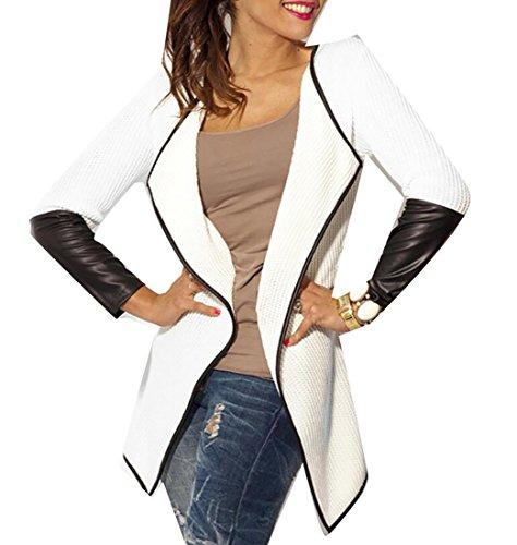 M2MO Women's Faux Leather Splice Waterfall Jacket Cardigan Blazer White US M