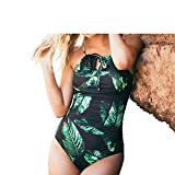 2017 New Tropical Plants Print Triangle Bikini One Piece Ruffled Swimsuits Halter Neck Criss Cross Back Bandage Bathing Suits