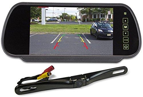 "Rockville Black Metal License Plate Bar Type Backup Camera+7"" Mirror Car Monitor"