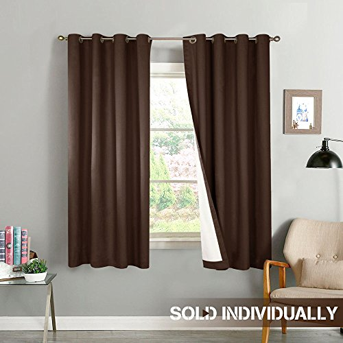 Thermal Insulated Blackout Curtains Lined Bedroom Curtain Panels Energy Saving Window Curtains for Living Room 63 inch Length, Grommet Top, 2 Panels, - Brown Window Curtain