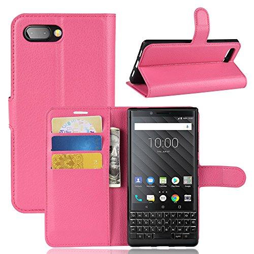 BlackBerry KEY2 Case,MYLB Litchi Skin PU Leather [Wallet Flip Cover] [Card Holder] Stand Magnetic Folio Case for BlackBerry KEY2 Smartphone (Rose)