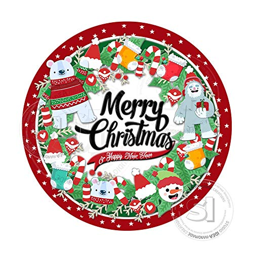 Instant Downloadmerry Christmas Tagschristmas Wreath Printable Tag Sticker Diyyou Print ()