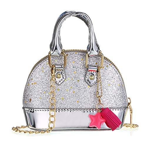 Girls Silver Handbag (Hipiwe Little Girls Purses for Kids, Cute Mini Handbags Glitter Princess Style Crossbody Bag Toddler Girls Tiny Shoulder Bags for Kids (Silver))