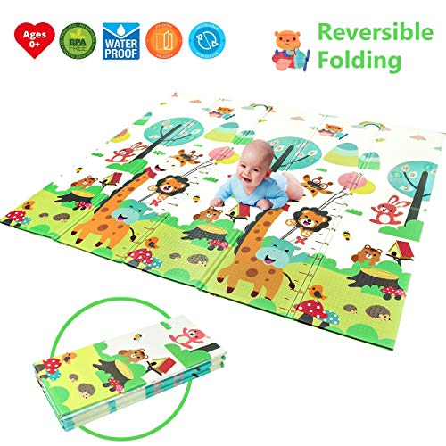 Foldable Play Mat BPA Free Non-Toxic Foam Baby Playmat 6FT x 6.6FT 0.4 Thick Extra Large Reversible Crawling Mat Portable Toddlers Kids Waterproof Non-Slip Activity Tummy Time Road of City