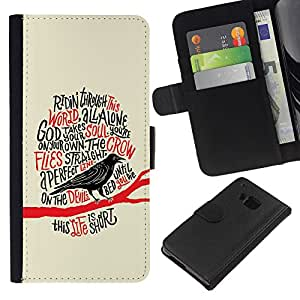 ZCell / HTC One M9 / Raven Crow Black Bird Poem Poe Edgar / Caso Shell Armor Funda Case Cover Wallet / Cuervo Cuervo Negro Pájaro Poema Po