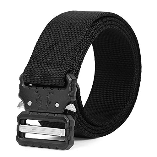 Mens Tactical Nylon Belt 1.5 inch, SANSTHS Military Style Heavy Duty Rigger Belt Qucik Release Metal Buckle, Black