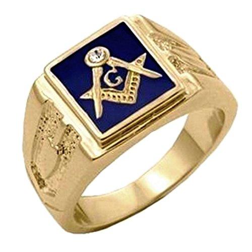Enamel Diamond Mens Bands - Great Dezigns 14K Gold Plate Men's Masonic Blue Lodge Mason CZ Simulated Diamond Band Ring (13)