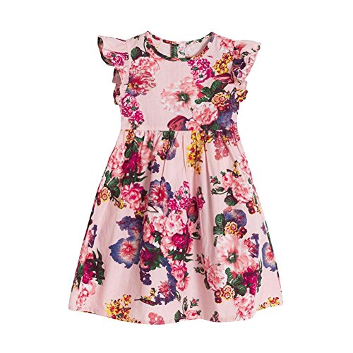 Baby Girls Dresses,Toddle Infant Kids Mini Sleeveless Party Geometry Floral Clothes Princess Dress (Pink, 12-18 Months)