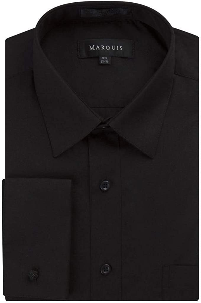 Gentlemens Collection Men's Regular & Slim Fit French Cuff Solid Dress Shirt - Colors (Cufflink Included) at  Men's Clothing store