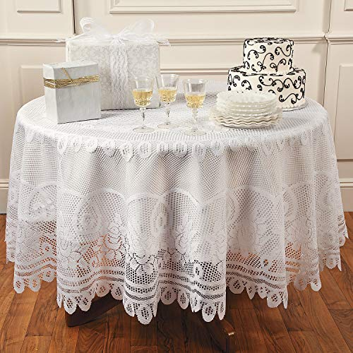 Fun Express Round White Lace Tablecloth (80 Inch) - Home Decor