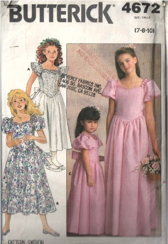 Neckline Drop (Butterick 4672 Sewing Pattern for Girls, Sweetheart Neckline Drop-pointed Waist Ruffle or Puff Sleeve Dress or Gown)