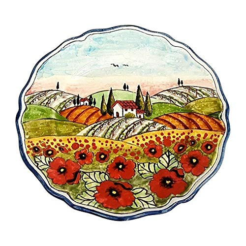 CERAMICHE D'ARTE PARRINI - Italian Ceramic Art Pottery Plate Serving Tray Hand Painted Decorated Poppies Landscape Tuscan Made in ITALY