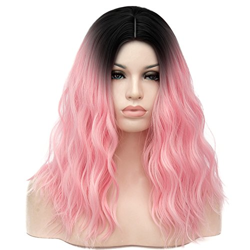Mildiso Pink Wig Medium Ombre Curly Wig for Women Dark Root Wig Halloween Costume Cosplay Wig with Wig Cap (Black to Pink) -