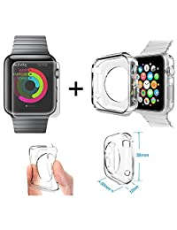 Xtra-Funky Range Apple 38mm iWatch Soft Shockproof TPU Clear Slim Protective Case and Tempered Glass Screen Protector Combo Pack.