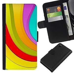 // PHONE CASE GIFT // Moda Estuche Funda de Cuero Billetera Tarjeta de crédito dinero bolsa Cubierta de proteccion Caso Sony Xperia Z3 D6603 / Color Stripes /