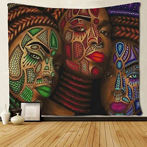 (SARA NELL Black Art Wall Tapestry Hippie Art Three African American Women Art Tapestries Wall Hanging Throw Tablecloth 50X60 Inches for Bedroom Living Room Dorm)