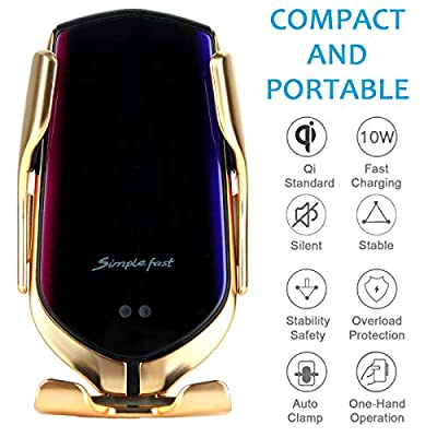 Lejianjia Wireless Car Charger Pro,Mobile Phone Holder with Automatic Clamping,10W Qi Fast Charging, Compatible with iPhone Xs Max/Xs/Xr/X/8+/8, Samsung S10/S10+/S10E/S9/S9+/S8/S8+/S7&More (Gold): Electronics