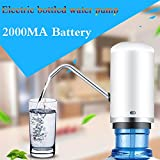 Andrew USB charging Portable electric water bottle pump dispenser (Fits Most 2-5 Gallon Water bottle[2000MA battery powered]) (white)