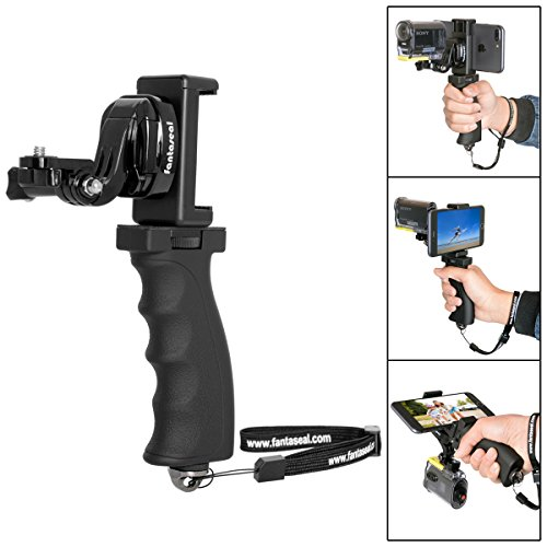 Fantaseal Ergonomic Action Camera Grip Mount Action Cam Handheld Stabilizer Support Camcorder Handle Steadicam handy grip w/ Smartphone Clamp Mount (UP TO 5.7