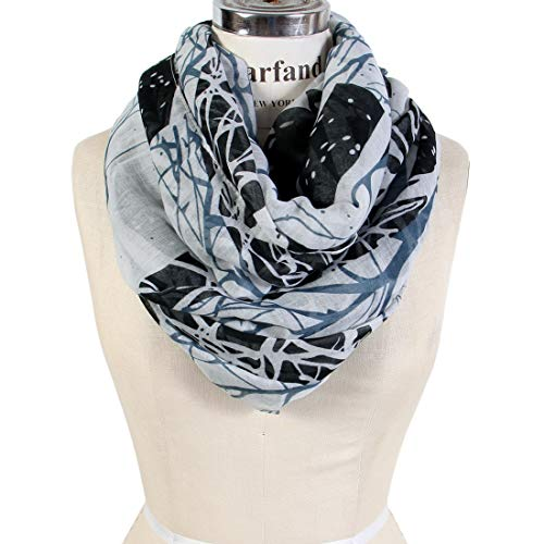 Scarfand's Mixed Color Oil Paint Infinity Versatile Fashion Scarf Head Wrap (Wintry-Black)