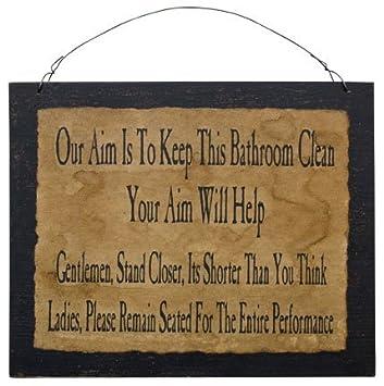 Amazon Com Clean Bathroom Sign Funny Distressed Black Wood Board