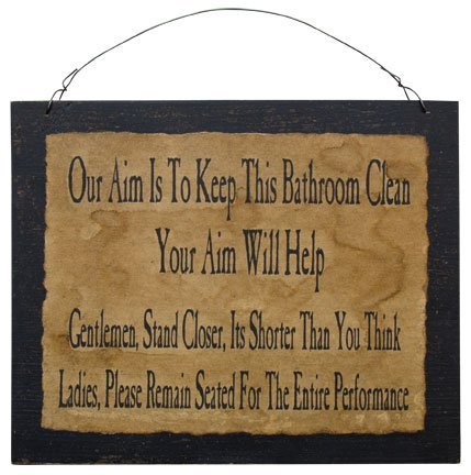 Amazoncom Clean Bathroom Sign Funny Distressed Black Wood Board - Cheap bathroom signs