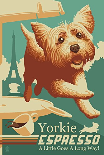 Yorkshire Terrier Art (Yorkshire Terrier - Retro Yorkie Espresso Ad (9x12 Collectible Art Print, Wall Decor Travel Poster))
