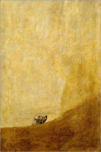 Posterlounge Lienzo 40 x 60 cm Dog de Francisco Jose de Goya - Cuadro Terminado, Cuadro sobre Bastidor, lamina terminada sobre Lienzo autentico, impresion en Lienzo